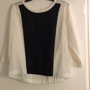 Cynthia Rowley Cream/ black blouse. XL